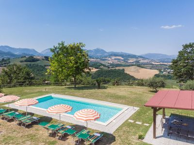 Photo for Villa with pool and panoramic views, surrounded by nature, 45 minutes from the Adriatic coast