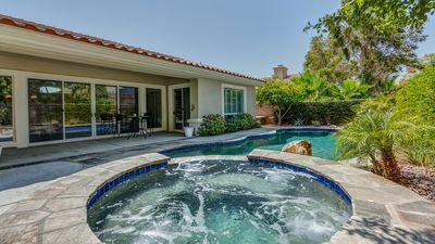 Photo for Sun City Palm Desert luxury villa with Pool and Hot Tub in a serene garden.