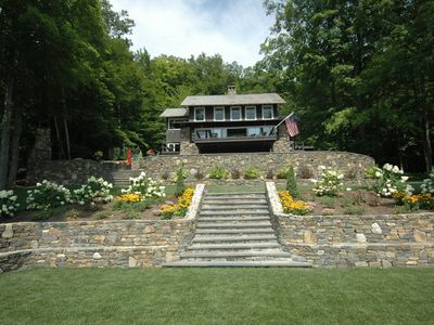 Photo for Lakefront Home, w/private sandy beach, charming luxury in mountains