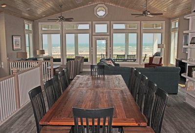 Third floor living and dining area with panoramic view of beach and ocean.