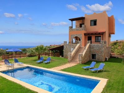 Photo for Theo Beach Villa: Large Private Pool, Walk to Beach, Sea Views, A/C, WiFi, Car Not Required