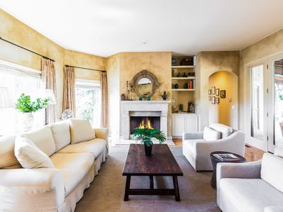 Living Room - The living area has 2 separate conversation areas - this one around a gas fireplace!