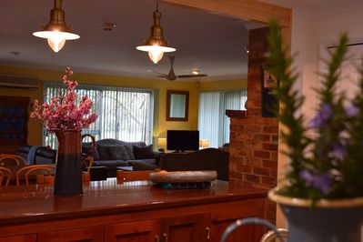 Glorious open plan kitchen + dining room + lounge room