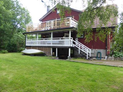 Photo for Fishing with friends / family in comf. gr. House with sauna by the lake Asnen