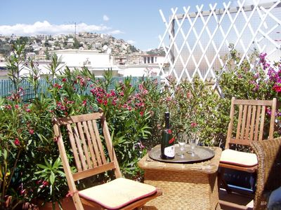 Photo for Charming roof terraced apartment with views  in Central Nice near the beach