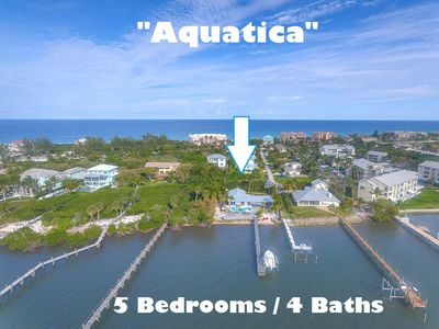 Photo for Aquatica: 5BR/4BA beach house, dock, heated pool + spa & more. Special: 20% off!