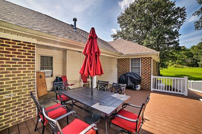 The private deck is the perfect place to host an afternoon barbecue.