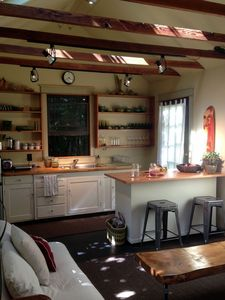partial view of the kitchen and eat island
