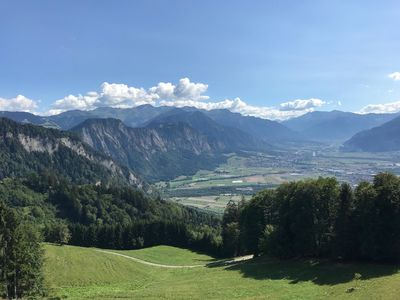 Photo for Mountain view over the valley of Lichtenstein, apartment on a slope