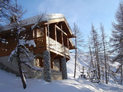 Photo for Charming chalet with a fire-place and great view on Mont Blanc