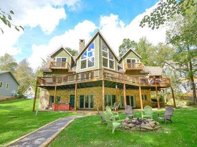 DOGS WELCOME! Lakefront Home w/Private Dock, Hot Tub, Pool Table, & Sauna!