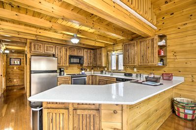 This vacation rental boasts modern upgrades and rustic charm.