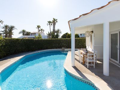 Photo for Air-Conditioned Holiday Home 150 m from the Beach with Pool, Terraces & Wi-Fi; Parking Available