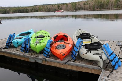 3 single kayaks, 1 tandem and 7 life vests for guest use