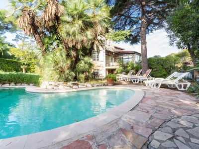 Photo for Artist's villa between Nice and Cannes 1.5 km from the beach with private pool