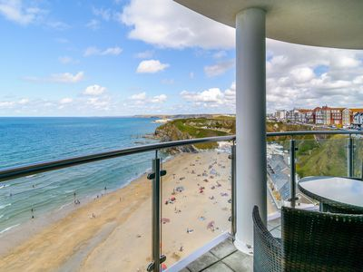Photo for Stunning panoramic sea views, 5 minutes from Tolcarne Beach and Newquay town centre, secure parking