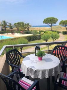 Photo for St Cyprien. Studio cabin 27m2 terrace, sea view and pool
