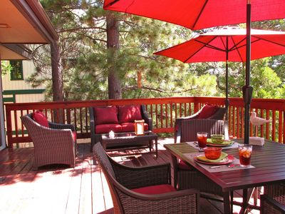 Our spacious deck with comfortable seating. Only one neighbor.
