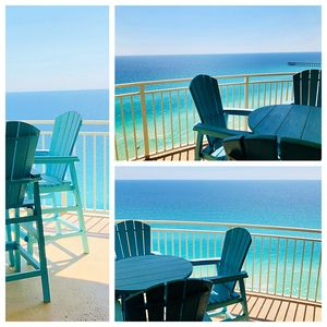 Balcony view of the Incredible blue hues of the Gulf