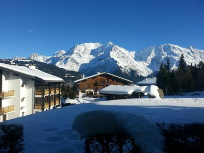 Photo for Apartment 50m2 for 4pers with beautiful terrace view Mont Blanc, ski in ski out.