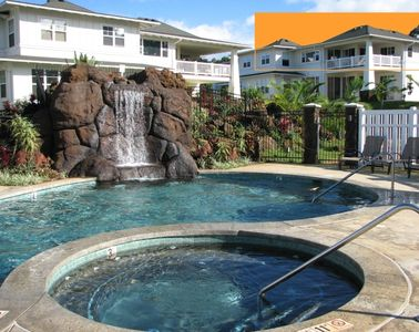 Pool with your condo & lanai highlighted