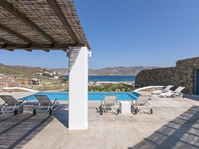 Photo for 4 Bedroom Villa with private pool and sea view, Panormos beach, Mykonos