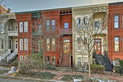The brownstone townhome is nestled in a quiet, safe, and historic neighborhood.