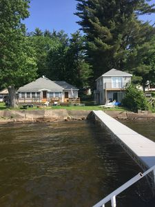 Cottage and Bunkhouse from the end of the dock