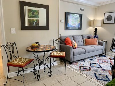 Comfortable intimate living room with Smart HDTV and electric fireplace