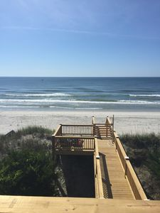 View of the ocean and private walkway and small square deck for sunning/shower