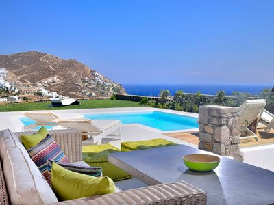 Photo for Luxury Villa in Mykonos above the beach with amazing sea view & private pool