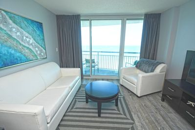 Living Area with Ocean View Balcony