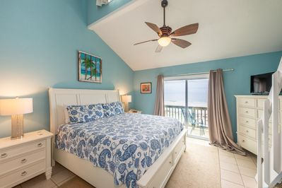 master bedroom with king bed and gulf views
