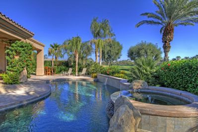 Enjoy the heated salt water pool & spa backing on the Nicklaus Tournament course