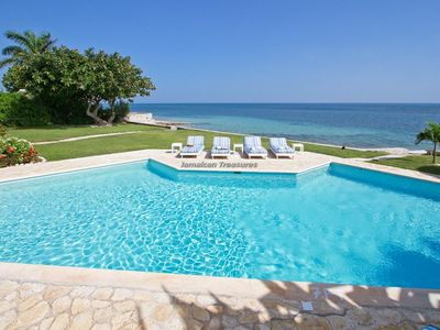 Photo for BEACHFRONT VILLA!JAMAICA, TENNIS, GOLF, GYM! FULL STAFF! OWN CHEF! SUNRISE!