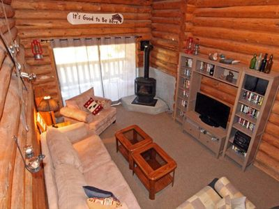 Photo for Cozy Log Cabin with Stunning Mountain Views