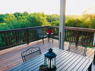 Photo for Beautiful hill country views from back porch! Quick trip to downtown.