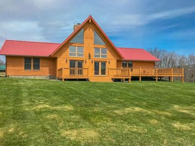 Photo for Gorgeous, Private Custom Built Log Home! Stone Fire Pit! Sleeps 8!