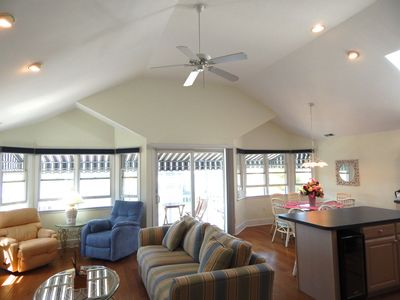 Open concept, cathedral ceiling with skylight