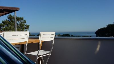 Photo for Triplex house 75 m² sea view in private residence. Beach access on foot