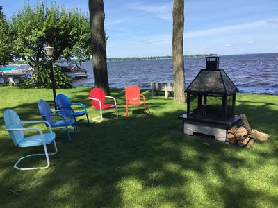 One of our two fire pits, right on the water