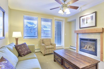 Living Area - Living Area- Gas fireplace and private balcony access.