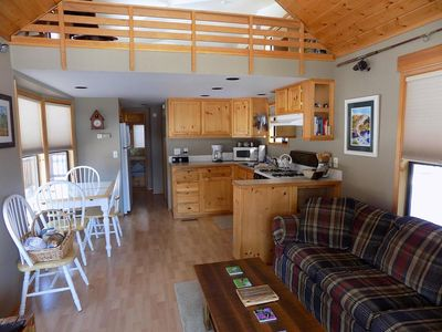 Photo for Two bedroom creek front pet friendly cabin!