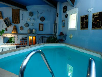 Photo for Charming cottages, private heated indoor swimming pool and solarium, private outdoor