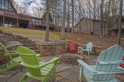 Great firepit with adirondacks in front of this smith mountain lake waterfront home