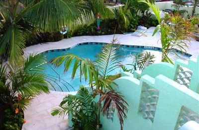 Newly Resurfaced heated pool in an Oasis like courtyard. Picnic table & Gas Gril