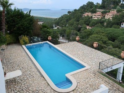 """Photo for Individual house in area of """"Cala Moreta"""", Begur. Private garden and swimming pool with sea view. Plot completely fenced and gardened. Situated about 1500m from the beach."""