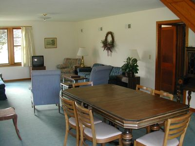 There is a spacious dining room and living room area on the first floor.