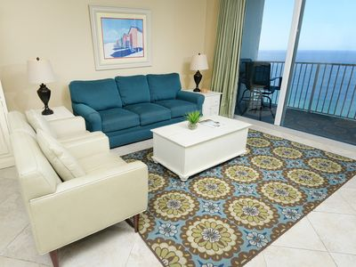 Photo for Spacious, welcoming condo! Direct gulf-front views! Free Wi-Fi. Starbucks on-site!
