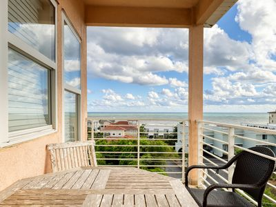 Photo for Gulf view home w/ multiple balconies & shared pool - steps to the beach!